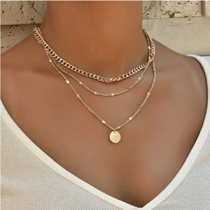 5 for $25 Gold Color Three Layer Medalion Necklace
